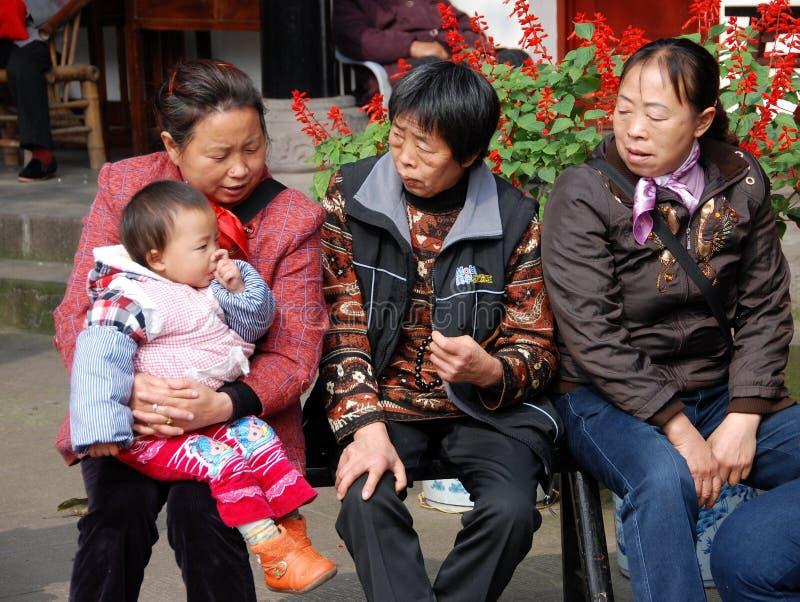 Huang por muito tempo Xi, China: Três mulheres com bebê imagens de stock royalty free