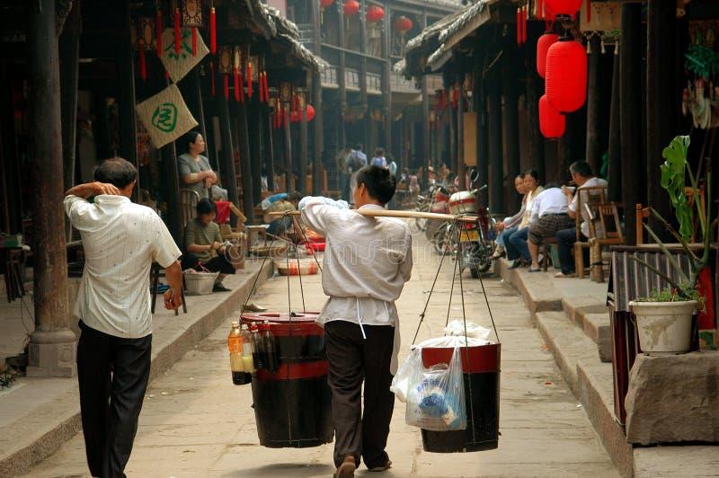 Huang por muito tempo Xi, China: Vendedor de alimento fotos de stock