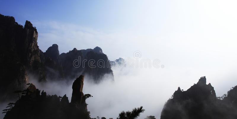 Huang Shan Mountain in the cloud sea stock images