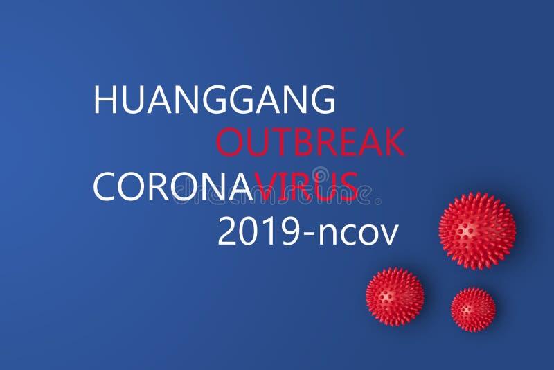 Huanggang city Hubei Province China is outbreak of 2019-ncov coronavirus. And abstract virus strain model of Novel coronavirus 2019-nCoV on blue background stock image