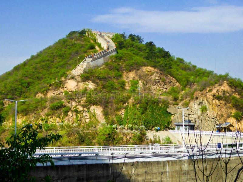 Huanghuacheng湖边长城视图 免版税库存照片