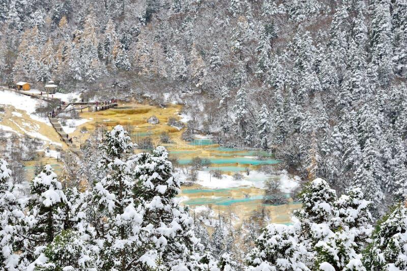 Huanglong, Sichuan, China. Winter of Huanglong, Sichuan, China stock photo