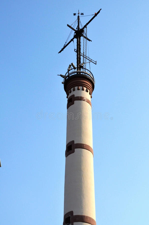 The Huangpu River lighthouse stock photo