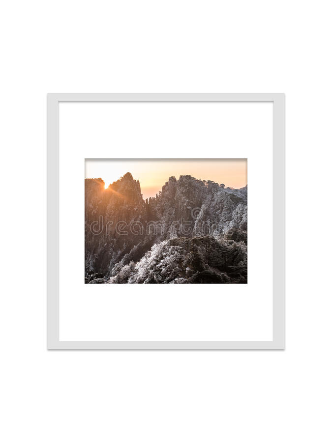 Huangsan photo frame isolated for decorate, interior and souvenir. royalty free stock image