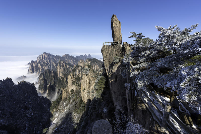 Huangshan Gele Bergen China stock foto