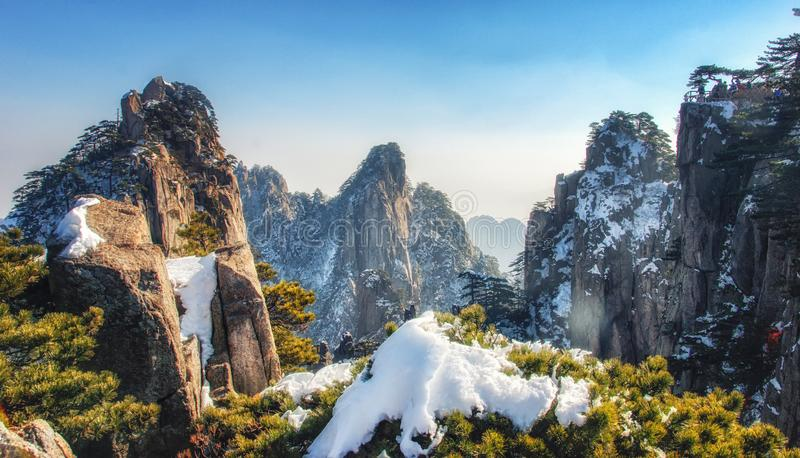 Huangshan mountain scenery in Anhui province, China. The steep granite cliffs, Huangshan pines Pinus hwangshanensis and rhododendrons of the Huangshan Mountains stock photos