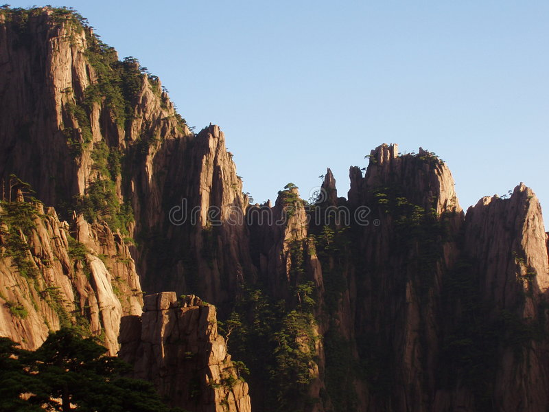 The Huangshan in the setting sun stock photo