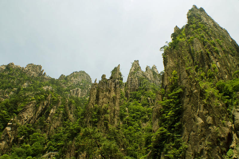 Huangshan from the valley below, high peaks royalty free stock images