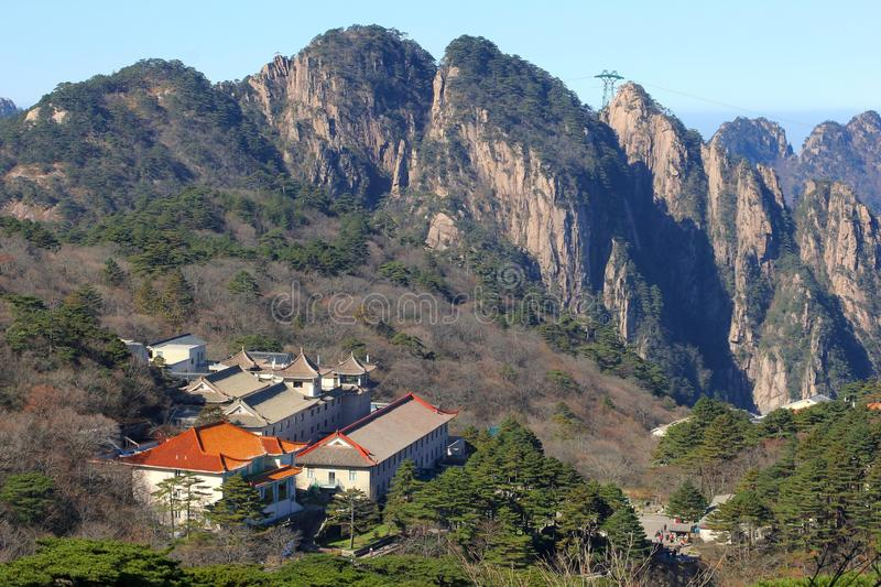 Exclusive lodge in the Huangshan Yellow Mountains, province Anhui, China royalty free stock images