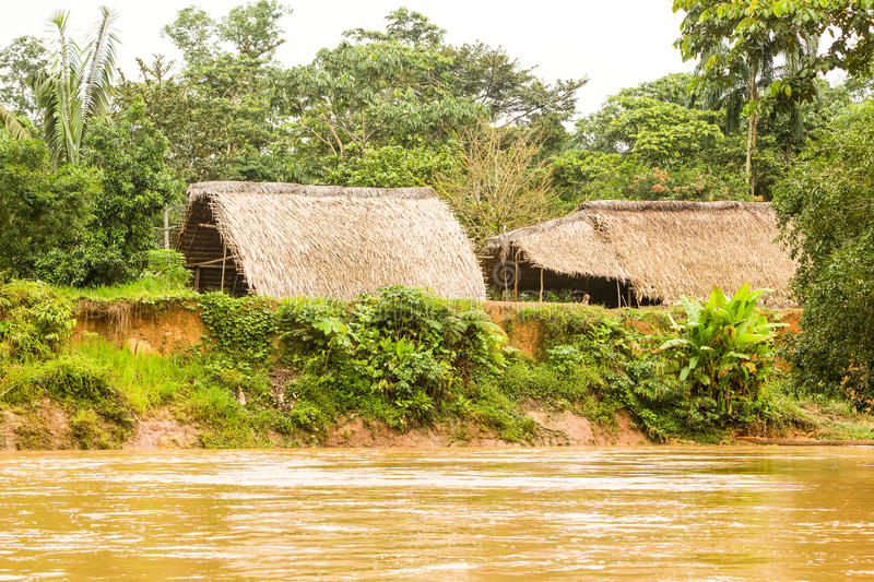 Huaorani Village In Amazon Basin stock images