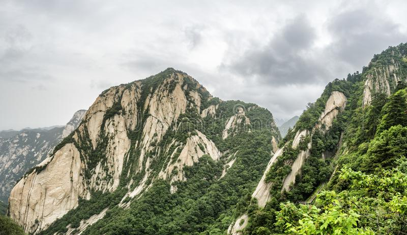 Huashan mountain North Peak view - Xian, Shaaxi Province, China.  stock photography