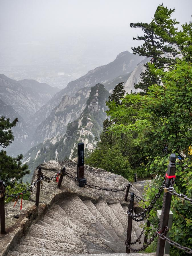 Huashan mountain stairs top view - Xian, Shaaxi Province, China.  stock images