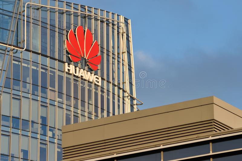 Huawei logo on a building. Vilnius, October 31: Huawei logo on a building on October 31, 2018 in Vilnius, Lithuania. Huawei is a Chinese multinational networking royalty free stock images