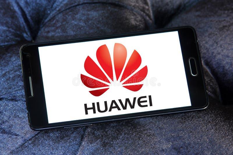 Huawei logo. Logo of mobile company huawei on samsung mobile phone a5 stock photography