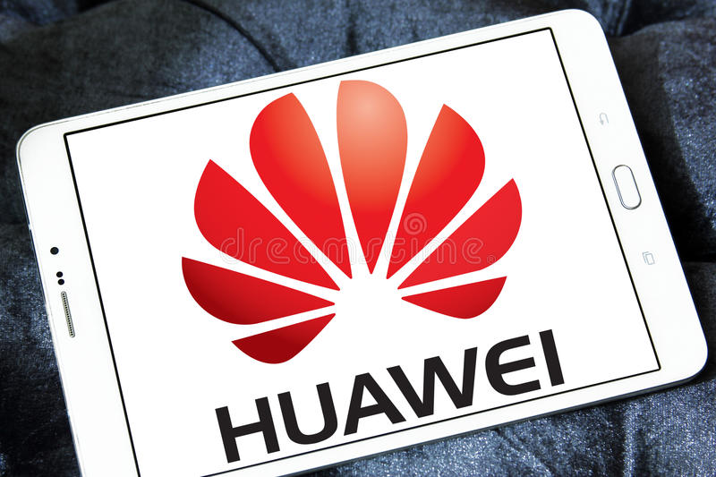 Huawei logo. Logo of mobile company huawei on samsung tablet royalty free stock photo