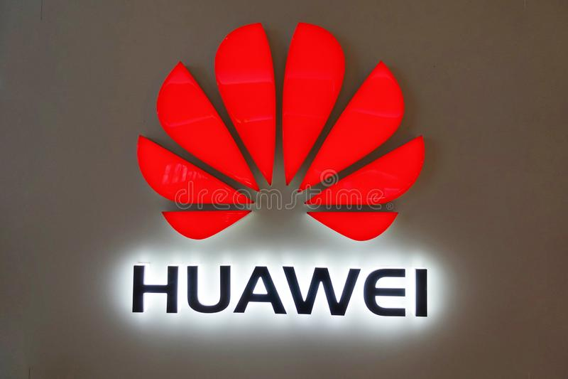 Huawei logo wahway. Huawei Technology Co., Ltd. is a Chinese communications technology company that produces and sells communications equipment. In February 2018 royalty free stock image