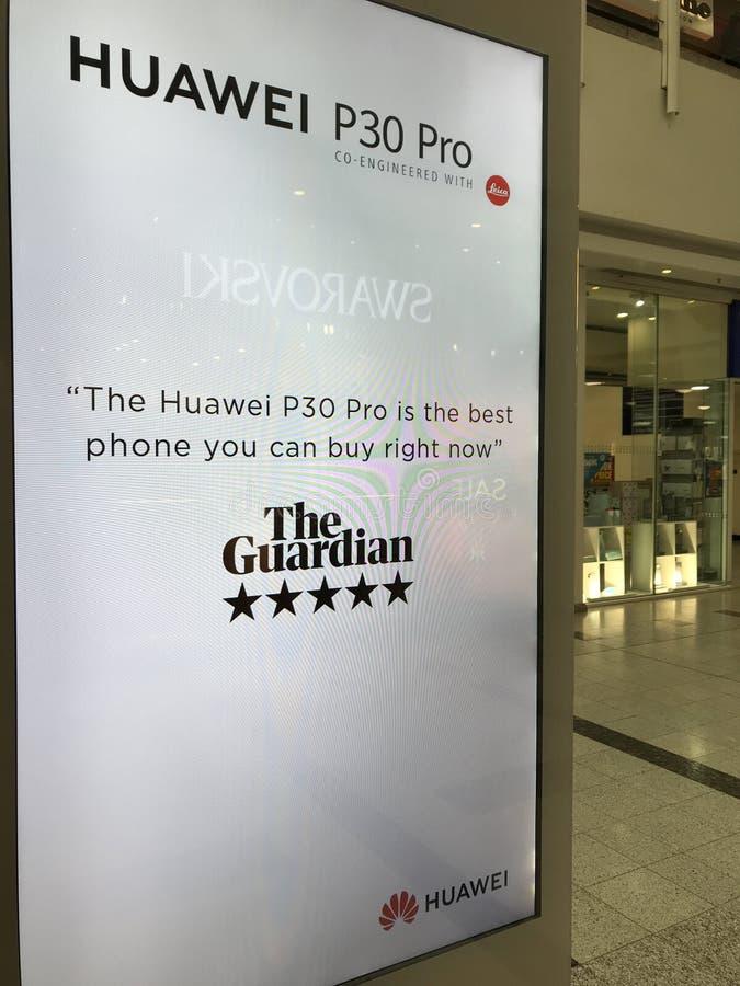 HUAWEI P30 Pro smartphone billboard in London royalty free stock photos
