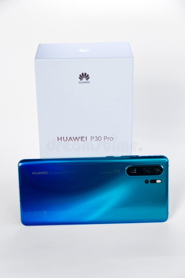 Huawei P30 Pro smartphone brand new with its original box royalty free stock images