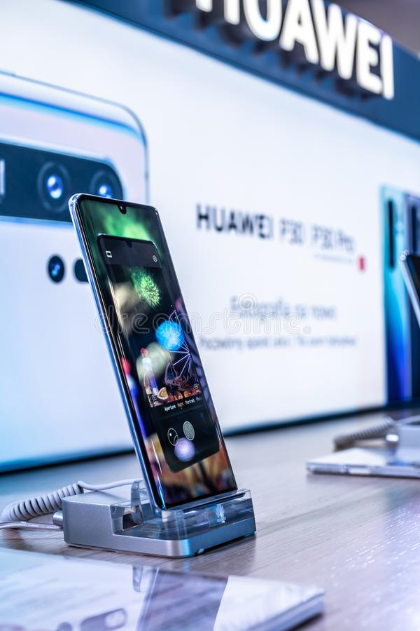Huawei P30 Pro smartphone, presentation features of P30 Pro with Android at Huawei exhibition pavilion showroom, royalty free stock image