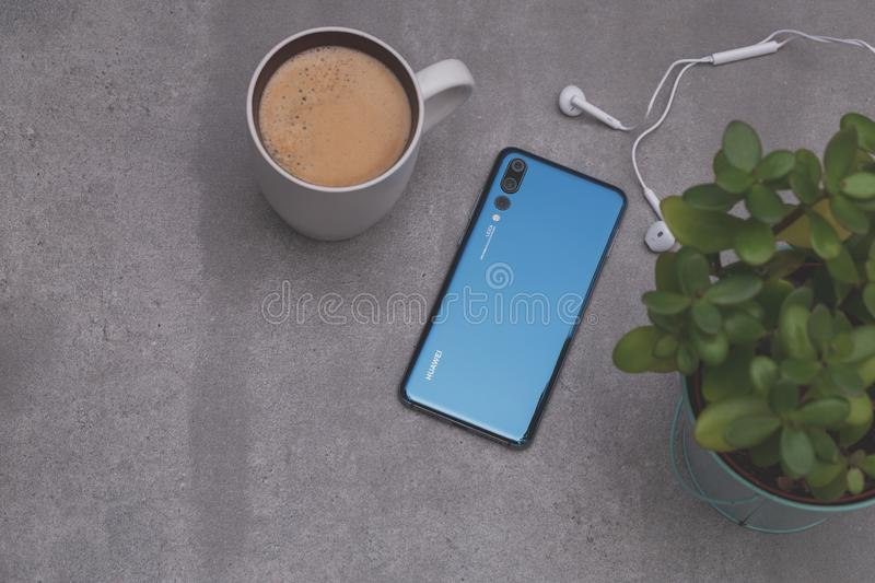 Huawei P20 Pro. Warsaw, Poland - October 07,2018: Smartphone Huawei P20 Pro in blue colour stock photo