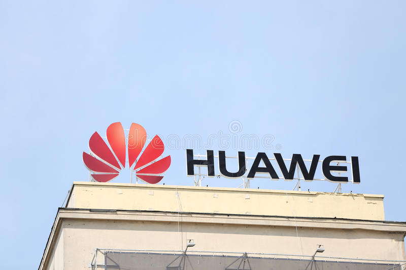 Huawei sign stock photo