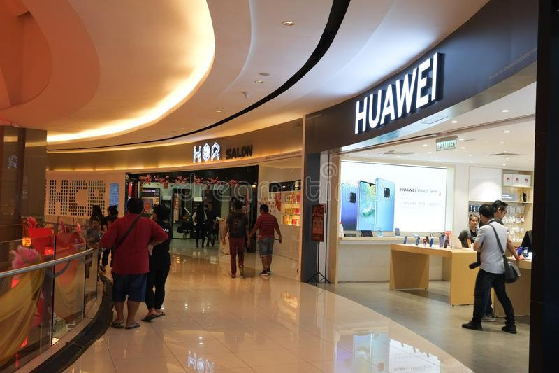 The Huawei store in the shopping mall. Kota Kinabalu,Sabah,MALAYSIA - FEBRUARY 5 2019 ; The Huawei store in the shopping mall at Kota Kinabalu stock images