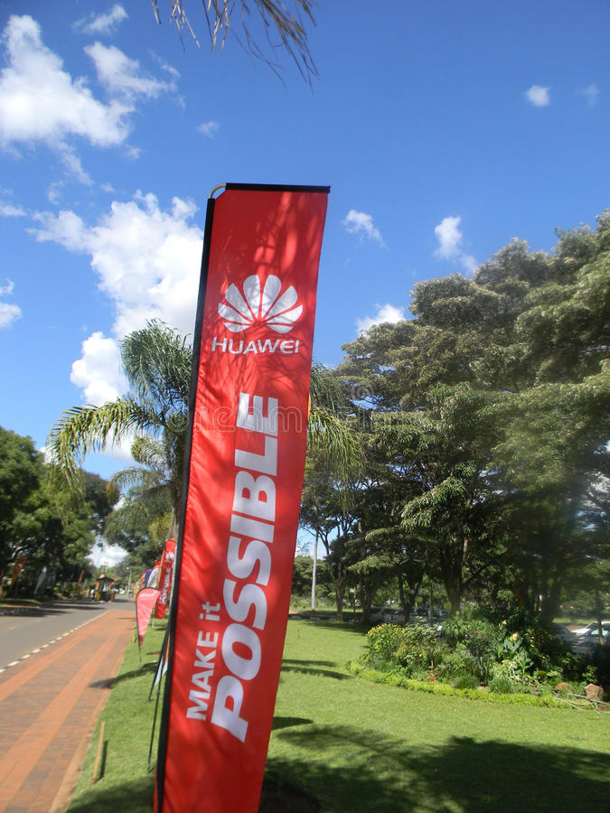 Huawei Technologies Co. Ltd banner in Harare. stock images