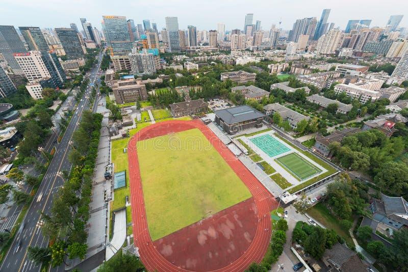 Huaxi Sichuan kampusu widok z lotu ptaka fotografia stock
