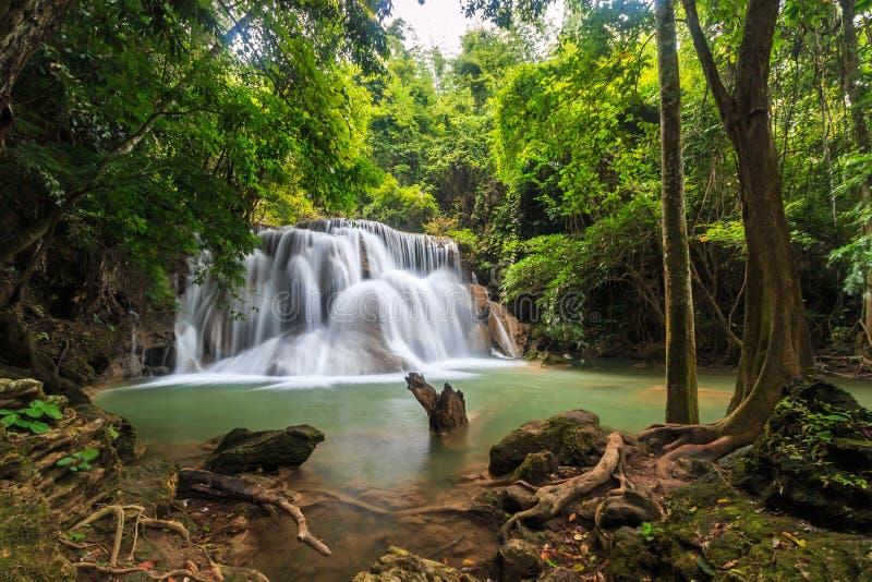 Huay Mae Kamin vattenfall, Thailand royaltyfria bilder