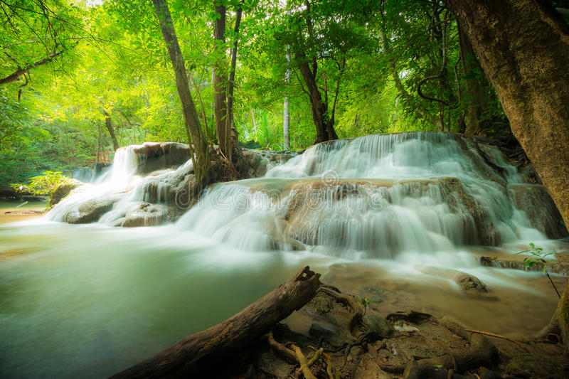 Huay Mae Kamin waterfall National Park. Beautiful Waterfall in Thailand. Waterfall in the deep forest at Huay Mae Kamin waterfall National Park, Thailand stock photography