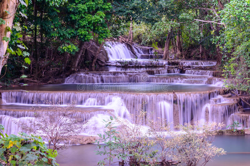 Huay Mae Kamin Waterfall, Nationalpark Srinakarin, Kanchanabur stockbild