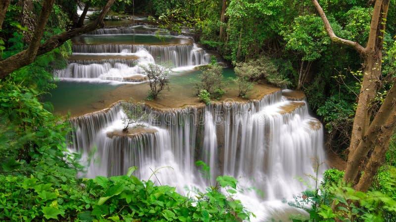 Huay Mae Khamin瀑布,一最美丽的瀑布在泰国 免版税库存照片