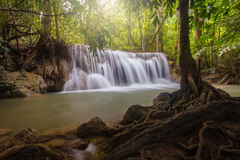 Huay Mae Khamin Paradise Waterfall. Located in deep forest of Thailand royalty free stock images