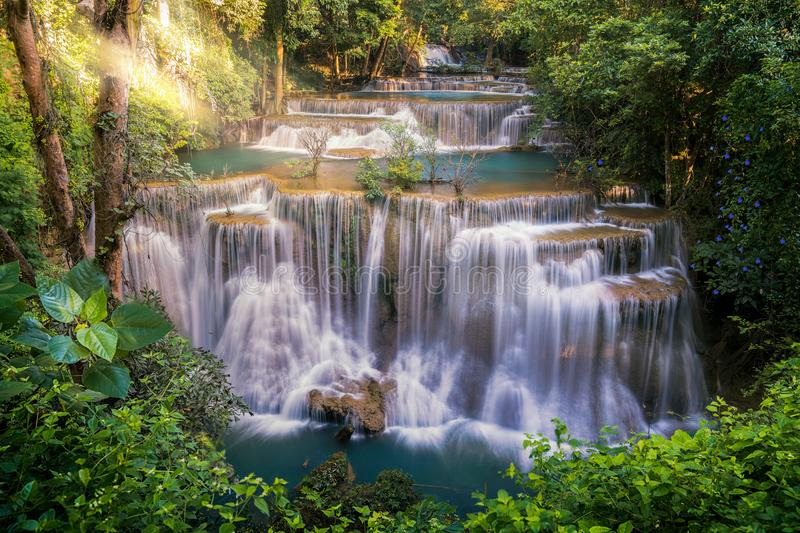 Huay mae khamin waterfall. In Kanchanaburi, Thailand. The waterfall in green forest and very romantic place for travel in Thailand royalty free stock photos