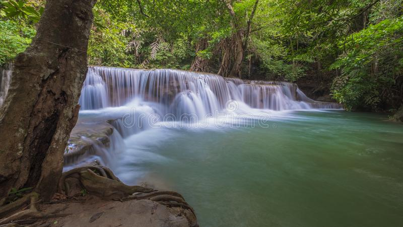 Huay Mae Khamin waterfall, one of the most beautiful waterfall in Thailand stock photos