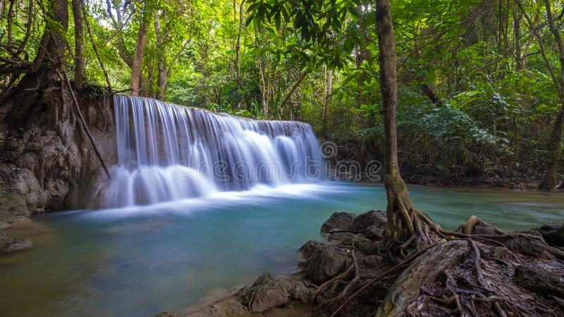 Huay Mae Khamin waterfall, one of the most beautiful waterfall in Thailand stock photo