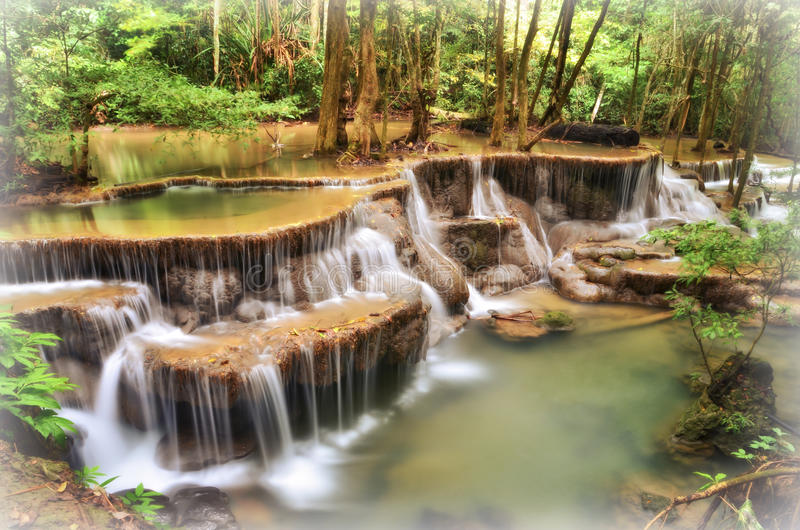 Huay Mae Khamin, Waterval stock afbeelding