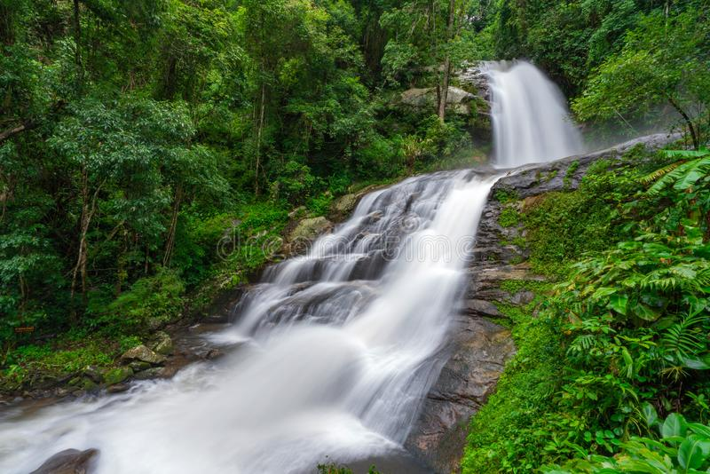Huay Saai Leung Waterfall is a beautiful Waterfalls in the rain forest jungle Thailand.  royalty free stock photos