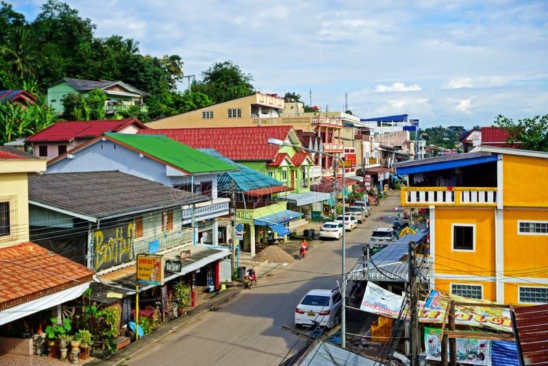 Huay Xai,在泰国,老挝旁边的边境城市 库存照片