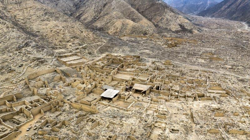 Huaycà ¡ n考古学站点鸟瞰图  免版税库存图片