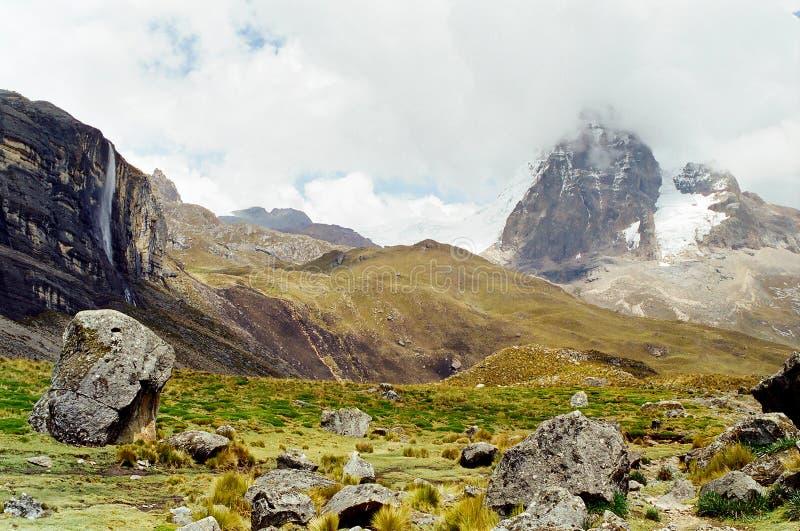 huayhuash秘鲁牛拉车旅行 图库摄影