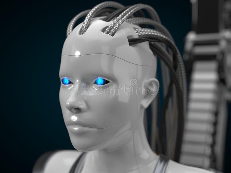 Hub d'intelligence artificielle, version blanche de droid illustration 3D illustration de vecteur
