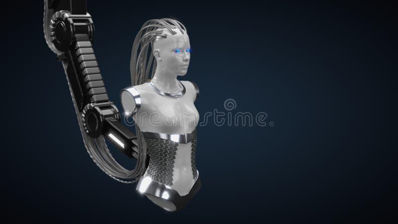 Hub d'intelligence artificielle, version blanche de droid illustration 3D illustration stock