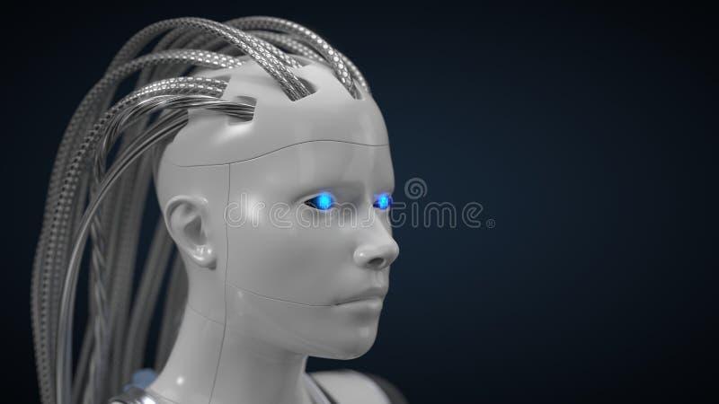 Hub d'intelligence artificielle, version blanche de droid l'illustration 3d, se ferment vers le haut de la vue illustration de vecteur