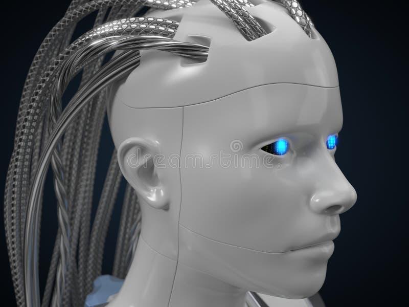 Hub d'intelligence artificielle, version blanche de droid l'illustration 3d, se ferment vers le haut de la vue illustration stock