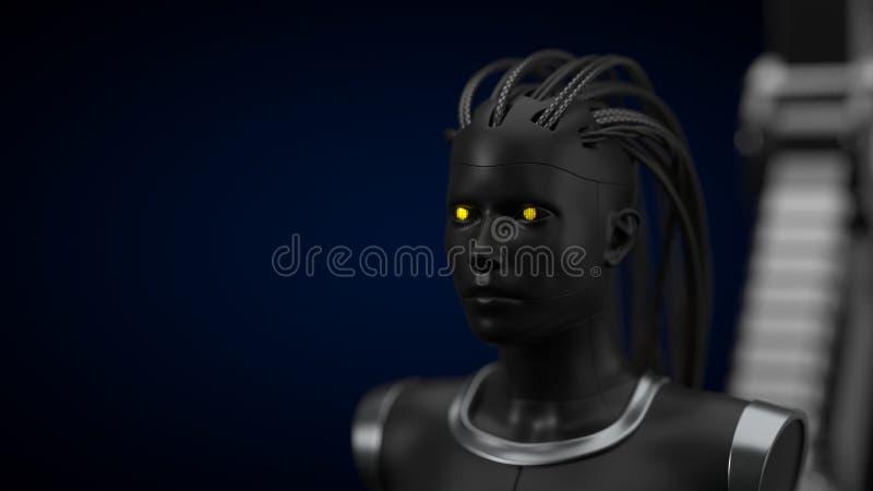 Hub d'intelligence artificielle, version foncée de droid illustration 3D illustration de vecteur