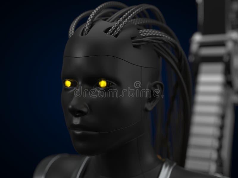 Hub d'intelligence artificielle, version foncée de droid illustration 3D illustration stock