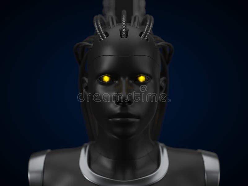 Hub d'intelligence artificielle, version foncée de droid 3d illustration, vue de face illustration de vecteur