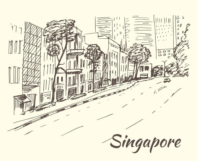 Hub de Singapour des boutiques, magasins, marchés, boutiques illustration de vecteur