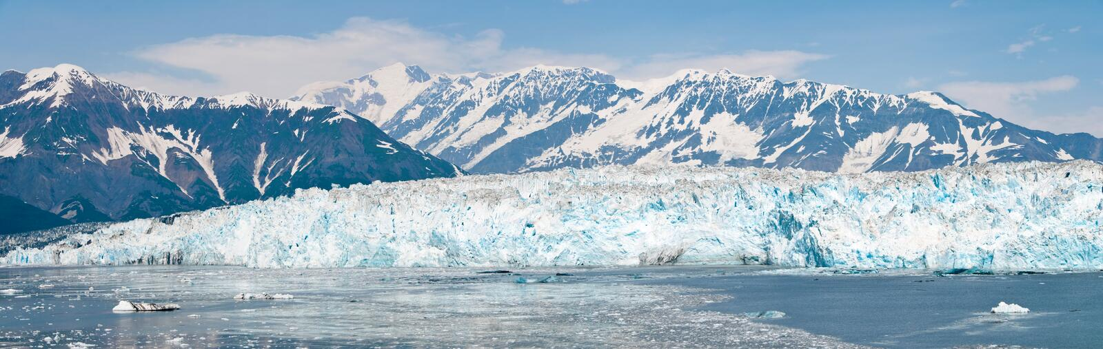 Hubbard Glacier, Alaska. A panoramic shot of the Hubbard Glacier in Alaska royalty free stock image
